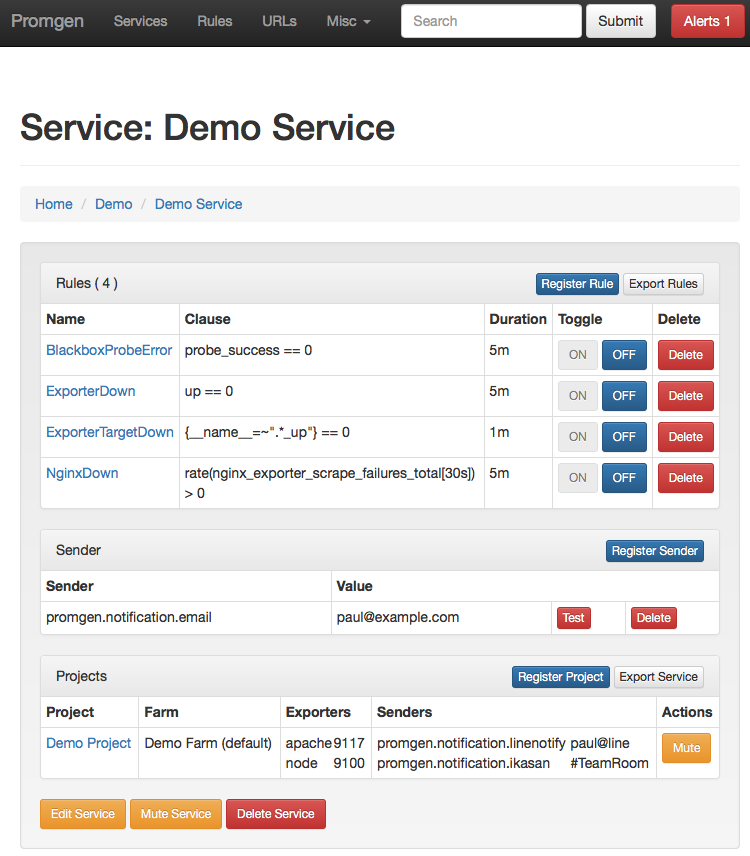 promgen (Django based Web UI and configuration generator for
